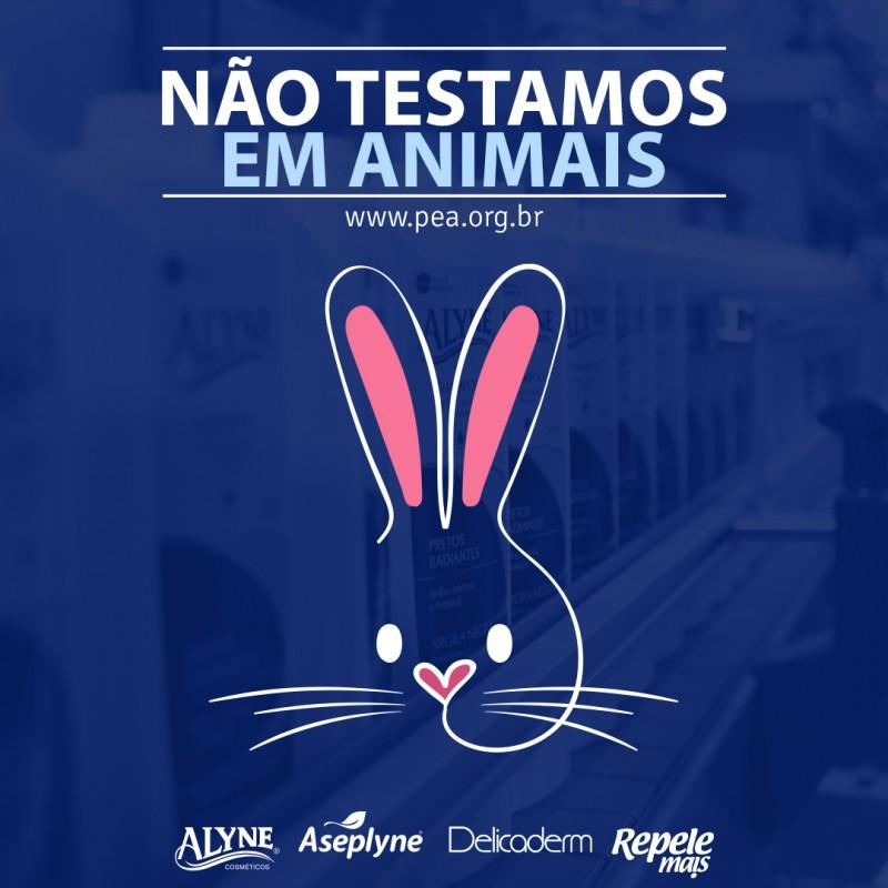 Grupo Alyne Cosméticos recebe selo PEA, que certifica que a empresa não testa em animais