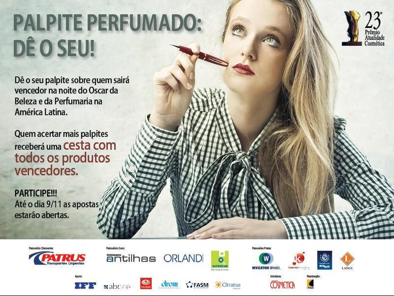 O concurso Palpite Perfumado do Prêmio Atualidade Cosmética já está no ar.