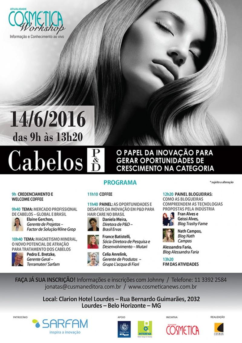 WORKSHOP ATUALIDADE COSMÉTICA - Cabelos P&D. Edição Belo Horizonte MG